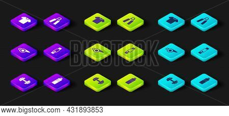 Set Dumbbell, Fitness Shaker, Whistle, Smartwatch, Sport Expander And T-shirt Icon. Vector