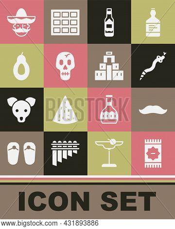 Set Mexican Carpet, Mustache, Snake, Tabasco Sauce, Skull, Avocado, Man Sombrero And Chichen Itza In