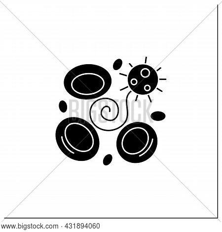 Blood Clotting Glyph Icon.covid Disease Caused Acute Brain Damage.corona Virus Neurological Health E