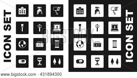 Set Security Camera, Stone Age Hammer, Paint Brush, Information, Online Museum, Roman Army Helmet, A