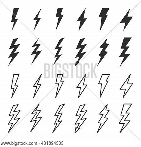 Thunder And Bolt Lighting Elements. Flash Icons Set. Elestric Blitz. Vector Thunderbolt Illustration