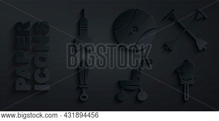 Set Baby Stroller, Arrow With Sucker Tip, Sword Toy, Toy Horse, Basketball Ball And Dart Arrow Icon.