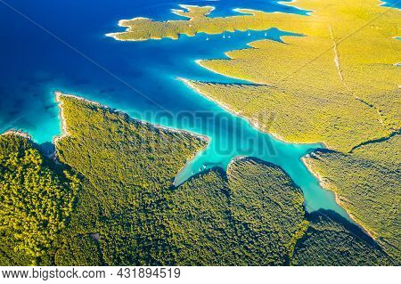Beautiful Sailing Bay And Turquoise Beach Aerial View, Meli Bay In Punta Kriza On Cres Island, Croat