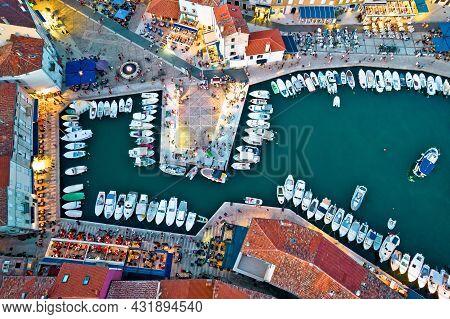 Town Of Cres Harbor Aerial Evening View, Island Of Cres, Kvarner Region Of Croatia