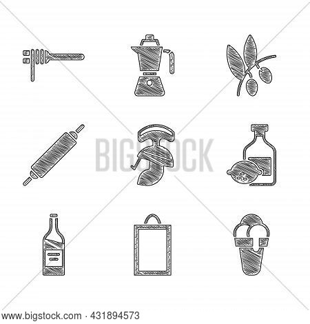 Set Roman Army Helmet, Picture, Ice Cream, Limoncello Bottle, Bottle Of Wine, Rolling Pin, Olives Br