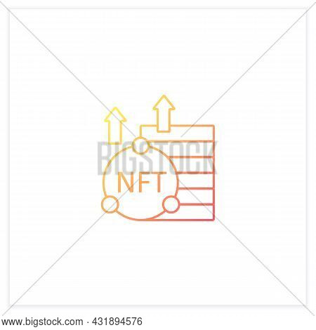 Nft Asset Gradient Icon. Unique Digital Assets. Growth. Cryptocurrency Concept. Isolated Vector Illu