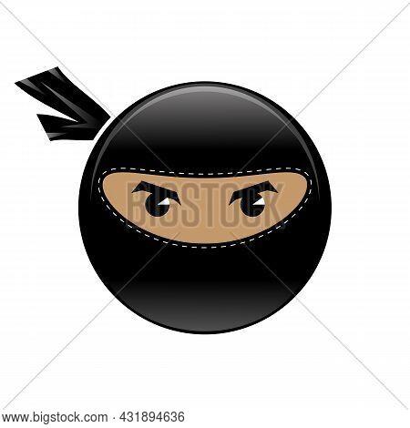 Cartoon Ninja Face Icon Isolated On White Background. Warrior Logo.