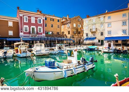 Cres. Colorful Harbor And Waterfront In Town Of Cres, Island Of Cres, Adriatic Archipelago Of Croati