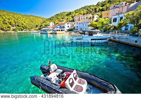 Tourist Village Of Valun On Cres Island Waterfront View, Adriatic Archipelago Of Croatia