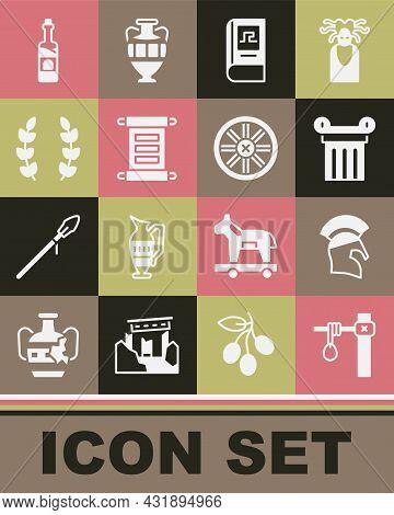 Set Gallows, Greek Helmet, Ancient Column, History Book, Decree, Parchment, Scroll, Laurel Wreath, B