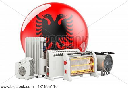 Albanian Flag With Heating Devices. Manufacturing, Trading And Service Of Convection, Fan, Oil-fille