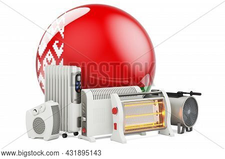 Belarusian Flag With Heating Devices. Manufacturing, Trading And Service Of Convection, Fan, Oil-fil