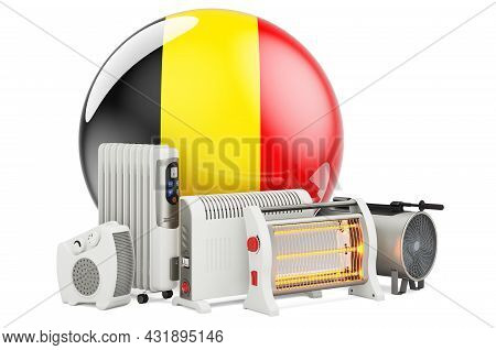 Belgian Flag With Heating Devices. Manufacturing, Trading And Service Of Convection, Fan, Oil-filled