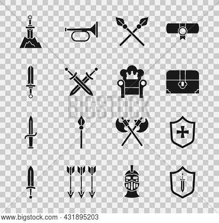 Set Medieval Shield With Sword, Shield, Antique Treasure Chest, Crossed Medieval Spears, Sword In Th