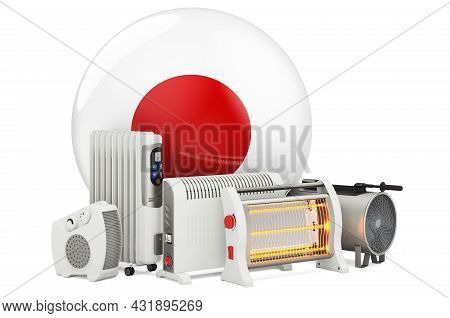 Japanese Flag With Heating Devices. Manufacturing, Trading And Service Of Convection, Fan, Oil-fille