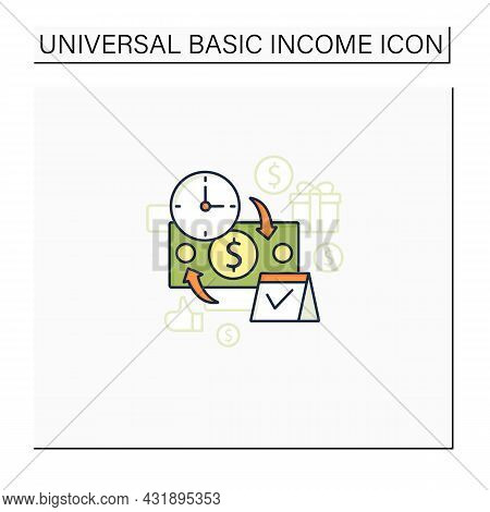 Periodic Payment Color Icon. Recurring Payments. Contribute Funds As Scheduled. Universal Basic Inco