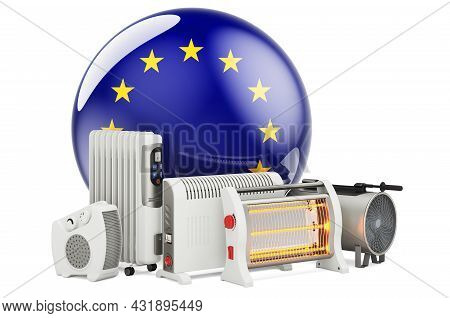 The Eu Flag With Heating Devices. Manufacturing, Trading And Service Of Convection, Fan, Oil-filled,