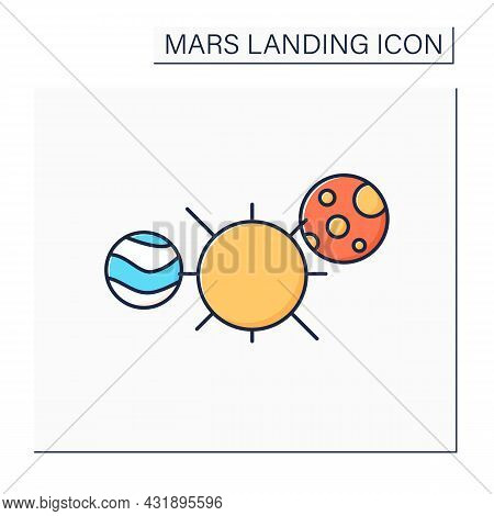 Solar System Color Icon. Gravitationally Bound System Of Sun And Planets. Space, Universe. Mars Land