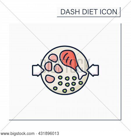 Health Food Color Icon. Chicken With Crushed Harissa Chickpeas On Plate. Balanced Nutrition. Small P