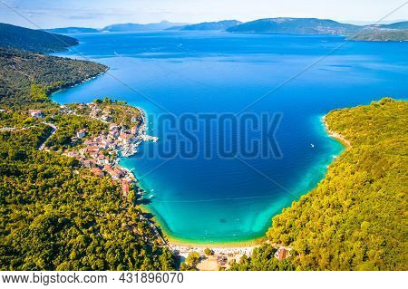 Bay And Village Of Valun On Cres Island Aerial View, Idyllic Beach And Nautical Destination On Adria