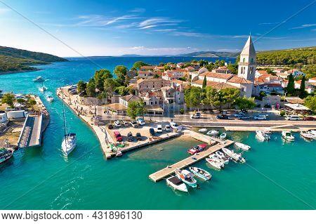 Town Of Osor Aerial View, Bridge Between Cres And Mali Losinj Islands, Adriatic Archpelago Of Croati