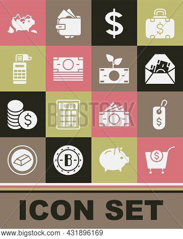 Set Shopping Cart And Dollar, Price Tag With, Envelope Symbol, Dollar, Stacks Paper Money Cash, Cash