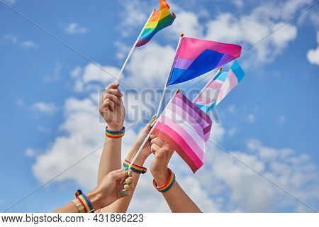 Lgbtq Pride, Hands With A Flags As A Symbol Of Lesbian, Gay, Bisexual, Transgender And Queer.