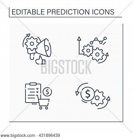 Predictive Analytics Line Icons Set. Price Optimization, Merchandise Planning, Improving Operations,