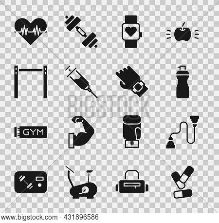 Set Vitamin Pill, Chest Expander, Fitness Shaker, Smart Watch, Doping Syringe, Horizontal Bar, Heart