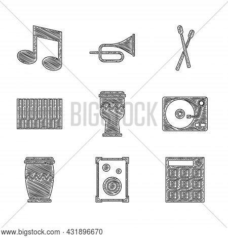 Set Drum, Stereo Speaker, Machine, Vinyl Player With Vinyl Disk, Grand Piano, Sticks And Music Note,