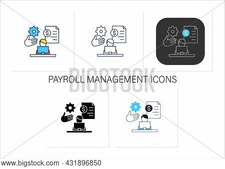 Payroll Management Icons Set.staff Administration, Managementing Financial Reports, Salaries And Bon