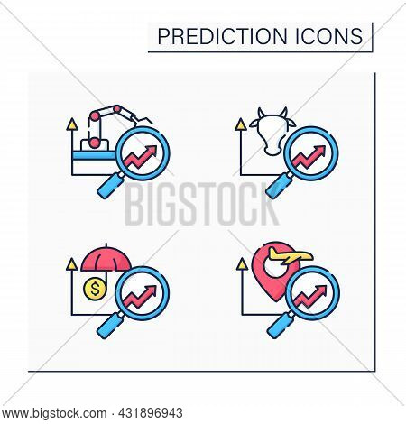 Predictive Analytics Color Icons Set. Travel, Insurance, Manufacturing, Agriculture Analytics Predic