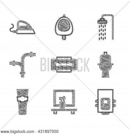 Set Blade Razor, Washbasin Mirror, Gas Boiler, Toilet Bowl, Tube Of Toothpaste, Industry Metallic Pi