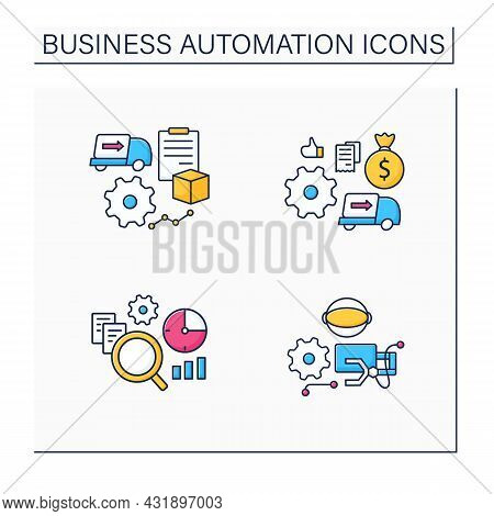 Business Automation Color Icons Set. Purchase Orders, Robotizing, Timely Analytics, Automatic Accoun