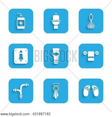 Set Tube Of Toothpaste, Towel On Hanger, Flip Flops, Industry Metallic Pipe, Female Toilet, Toilet B
