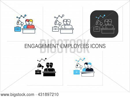 Engagement Employees Icons Set.mental, Emotional Connection Employees. Teamwork. Attracting Workers.