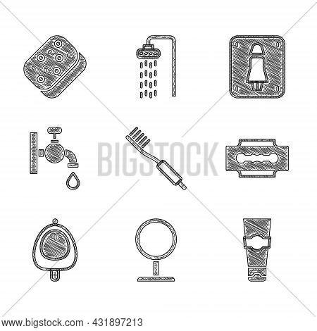Set Toothbrush, Round Makeup Mirror, Tube Of Toothpaste, Blade Razor, Toilet Urinal Pissoir, Water T