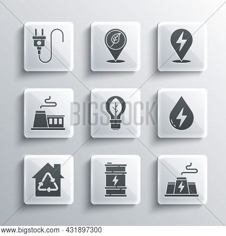 Set Bio Fuel Barrel, Power Station Plant Factory, Water Energy, Light Bulb With Leaf, Eco House Recy