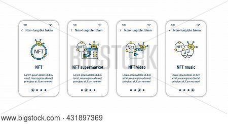 Nft Onboarding Mobile App Screens. Non Fungible Token.unique Digital Assets Steps Menu. Set Of Ui, U