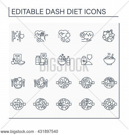 Dash Diet Line Icons Set. Consists Of Stopping Hypertension, Low Sodium, Eating Plan, Balanced Nutri