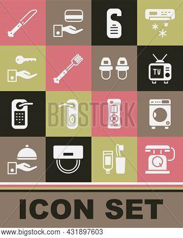 Set Telephone Handset, Washer, Retro Tv, Please Do Not Disturb, Fork, Hotel Door Lock Key, Knife And