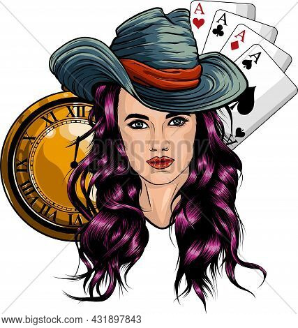 Cowgirl With Poker Aces And Gold Clock