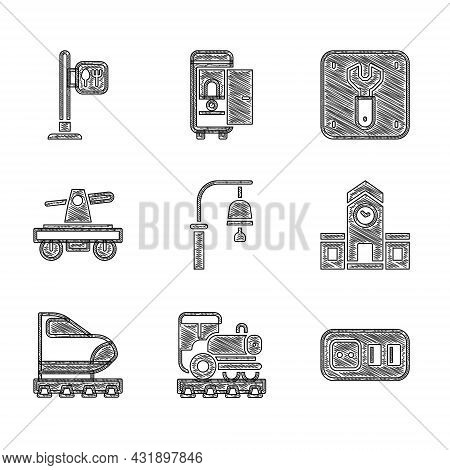 Set Train Station Bell, Vintage Locomotive, Electrical Outlet, Railway, High-speed Train, Draisine O