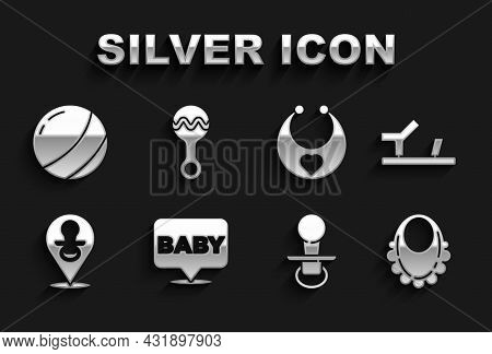 Set Baby, Shoes, Bib, Dummy Pacifier, Beach Ball And Rattle Baby Toy Icon. Vector