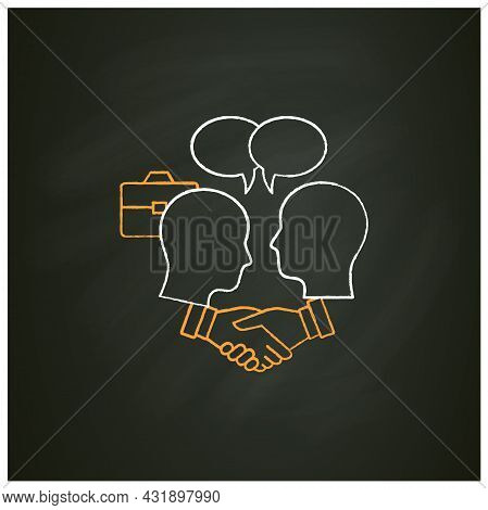 Negotiation Chalk Icon. Dispute Resolution.compromising. Successfully Handles, Resolves Issues Sensi
