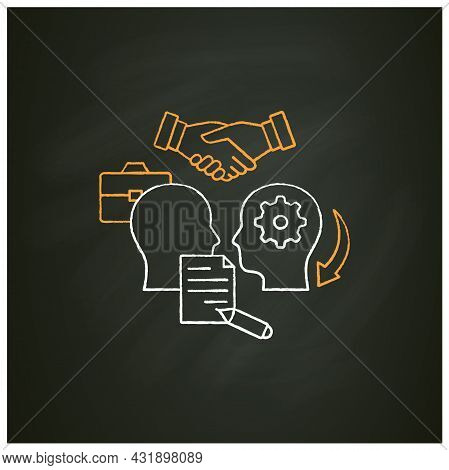 Formalizing Agreements Chalk Icon. Dispute Resolution.documentation. Successfully Handles, Resolves