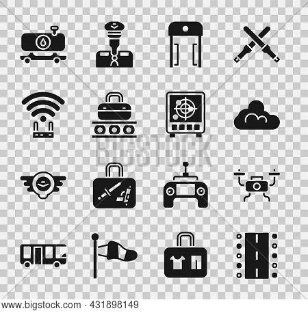 Set Airport Runway, Drone Flying, Cloud Weather, Metal Detector Airport, Conveyor Belt With Suitcase