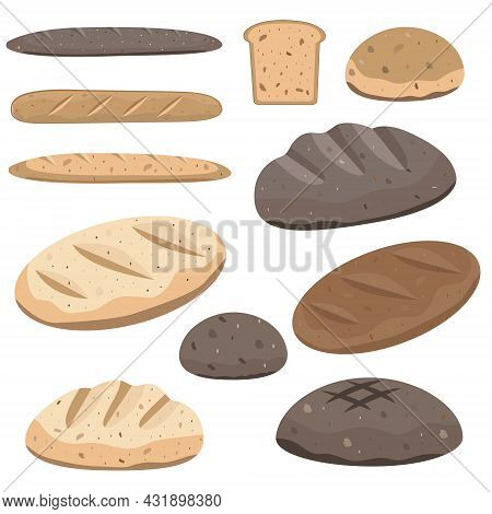 Set Of Vector Icons Of Bread. French Baguette, Hamburger Loaf, Loaf, Rye Bread, Wheat Bread, Toast B