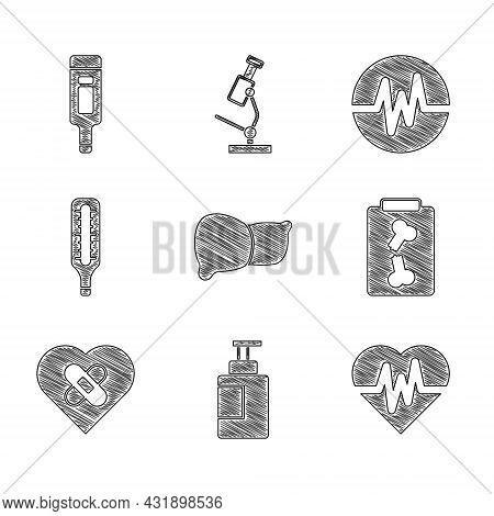 Set Human Organ Liver, Hand Sanitizer Bottle, Heart Rate, X-ray Shots, Healed Broken Heart, Medical