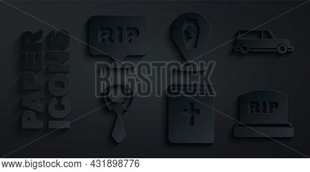 Set Holy Bible Book, Hearse Car, Tie, Tombstone With Rip Written, Coffin Cross And Speech Bubble Rip